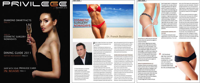 Aticle « Cosmetic surgery nowadays », Privilege, Franck Benhamou